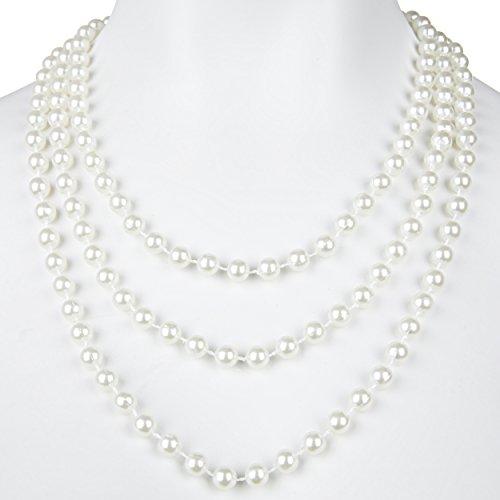 Balinco Perlenkette weiß 180 cm für Ihr Charleston Kostüm 20er Jahre Perlen Kette