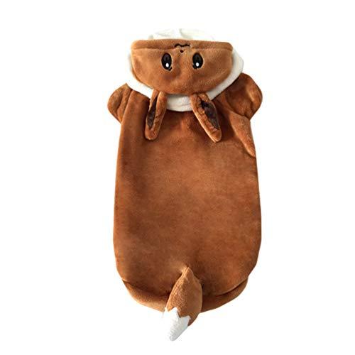 Jitong Pokémon Verkleidung für Hunde, Cosplay Outfit Pullover Hoodie für Haustier, Halloween Hundekostüm (Braun, ()