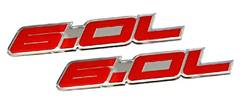 2 x (pair/Set) 6.0L Liter in RED on SILVER Highly Polished Aluminum Car Truck Engine Swap Nameplate Badge Logo Emblem for CHEVY TAHOE SUBURBAN GMC VORTEC V8