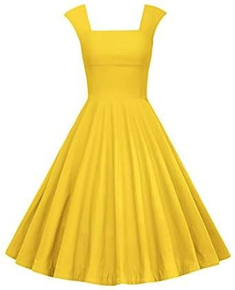 MUXXN Donna vintage anni '50 Gonna a Ruota da Cerimonia a Scollo Quadrato Maniche ad Aletta(XL,Yellow)