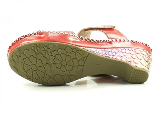 ... Laura Vita CX9901-7 Daphne 07 Schuhe Damen Sandalen Keil Pantoletten Rot 3361ef9b0d