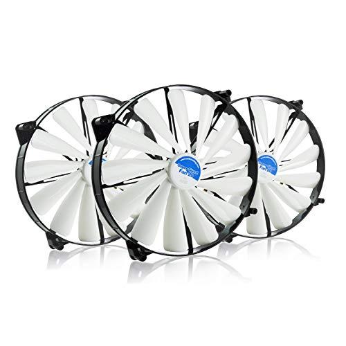 lent Fan 20 - Leise und Efizient 200mm Groß Gehäuselüfter mit 4 Anti-Vibration-Pads - Gehäuse Lüfter | Cooling Fan | Ventilator | Lüfter 12V - Wertpaket 3 Stück ()