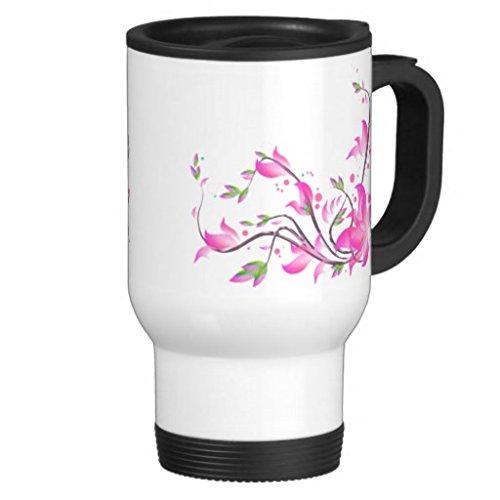 hiekon Joyeux Lovely Rose Fleur Tasse de voyage en acier inoxydable, 14-Ounce
