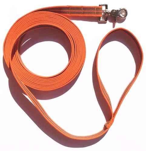 dogs-and-more-traino-guinzaglio-con-strap-3-metri-in-arancione-in-gomma-con-strisce-catarifrangenti