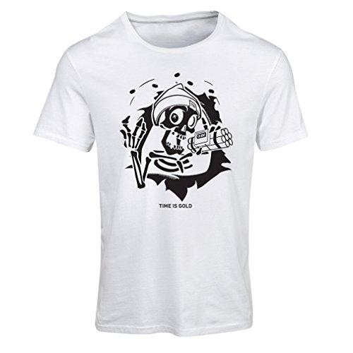 Camiseta mujer el cráneo con Bomba - el tiempo está arriba - el tiempo es Oro (XX-Large Blanco Multicolor)