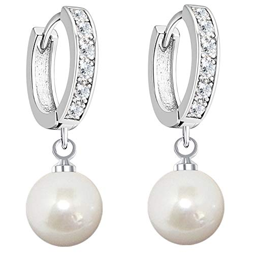 MYA art Damen Ohrringe 925 Silber Hängend mit Perlen Anhänger Swarovski Elements Strass Kristall Creolen 10mm Weiß Brautschmuck Tropfen-Form