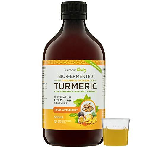Flüssiges Kurkuma Curcumin, Hochdosiert (900 mg) – Mit 6 Milliarden Probiotika für Verdauung und Immunsystem + Enzyme, Schwarzer Pfeffer & Ingwer | Waldbeere Geschmack | 99%