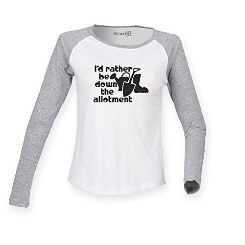 Brand88 - I'd Rather Be Down The Allotment, Allotment inspired, Damen Langarm Baseball T-Shirt Weiss & Grau