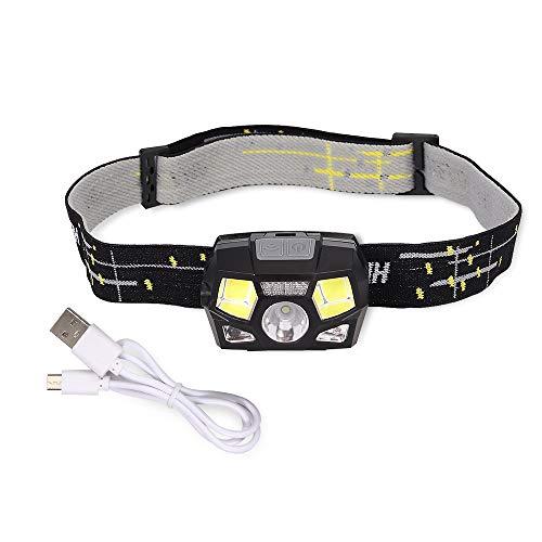 USB Wiederaufladbare LED smart Kopflampe Stirnlampe Head Light Cob Induktionsscheinwerfer 5 Modi 1300-mAh Wasserdicht für Laufen Joggen Angeln Camping Kinder Kopfleuchte Taschenlampe Flashlight