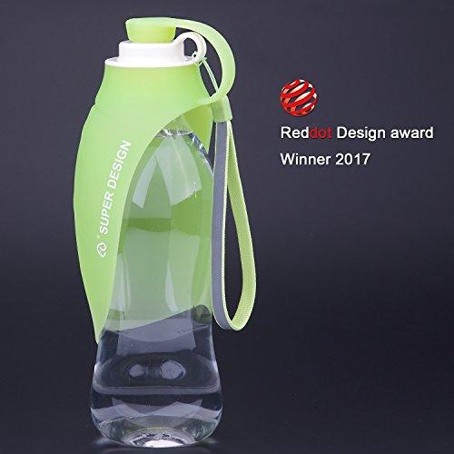 SuperDesign tragbare Trinkflasche mit Wasserspender für Unterwegs, Deckel als Trinknapf verwendbar,MEHRWEG Verpackung