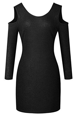Caldo a Maniche Lunghe Girocollo Cold Shoulder Spalle Scoperte a coste Knit Mini Bodycon Aderente Fasciante Sweater Maglione Maglia Dress Vestito Abito Nero