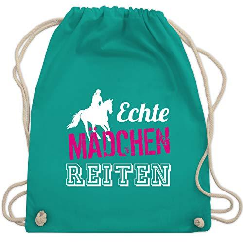 Reitsport - Echte Mädchen reiten - Unisize - Türkis - WM110 - Turnbeutel & Gym Bag - Pferde Schulter Tasche