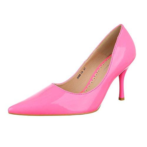 High Heel Damen Schuhe Plateau Pfennig-/Stilettoabsatz High Heels Ital-Design Pumps Pink