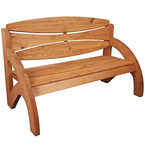 SunDeluxe Gartenbank Jorn in Teakbraun 140cm - 3-Sitzer Sitzbank aus massivem Kiefernholz - Premium Design Holzbank mit ergonomischen Armlehnen