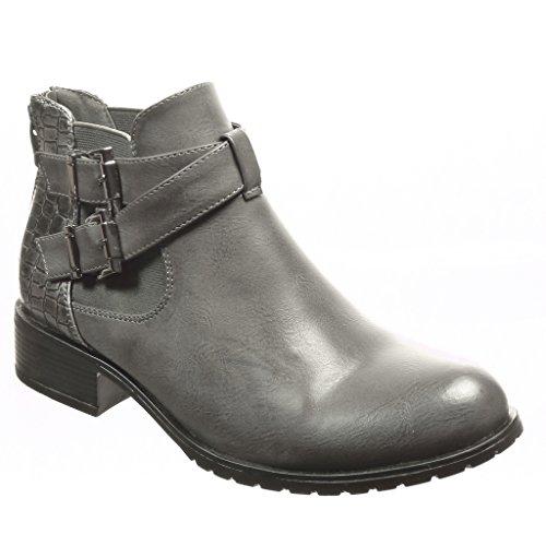 Angkorly - Scarpe Da Donna Stivaletti - Chelsea Boots - Snakeskin - Perizoma - Bow Block Tacco 3 Cm Grigio