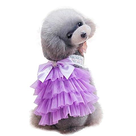 Animal Vêtements,Manadlian Animaux De Compagnie Chien 2017 Habillement adorable de jupe de chiot de vêtements pour de petits animaux de compagnie (XL, Violet)