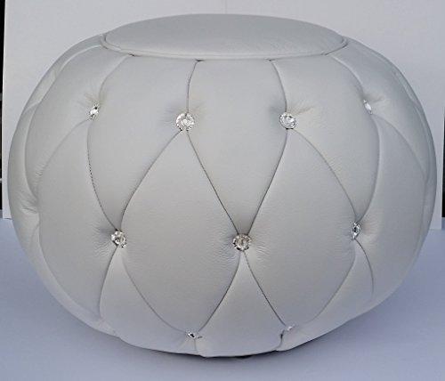 Hocker Sitzhocker HELENA echtes Leder Weiß SWAROVSKI Kristalle