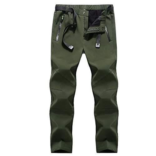 Mens Water Resistant Soft Shell Fleece Hiking Climbing Trousers Mountain Pants Snow Ski Pants Slim Fit