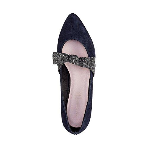 La Redoute Mademoiselle R Donna Ballerine in Pelle Dettaglio Fiocco Blu
