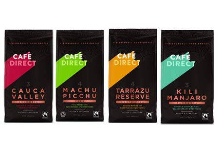 Cafédirect Organic Fairtrade Ground Arabica Coffee 227g Pack of 4-Contains- Machu Picchu -Kilimanjaro -Tanzania Tarrazu Reserve Costa Rica & Cauca Valley Colombia