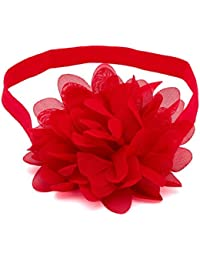 NeedyBee Girls Big Chiffon Flower Kids Hair Styling Accessories Elastic baby Headbands, Red