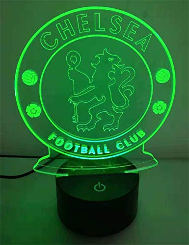 Chelsea 3D Nachtlicht/LED Energiesparlampe, 7 Farbvariationen, Touch/Fernbedienung, schwarze Basis, Hauptdekor Schlafzimmer -