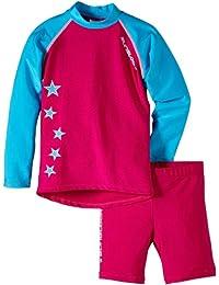 Zunblock Stars Not Stripes Anti-UV - Camiseta con manga larga y pantalones cortos de natación para niña de 2 años, color rosa
