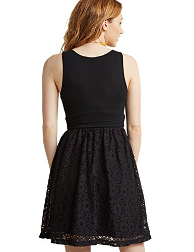 BMJL Women's Dresses Ruched Floral Lace Retro Swing Pleated 1950s Sleeveless Empire Little Black Cocktail Party Summer for Ladies Dress