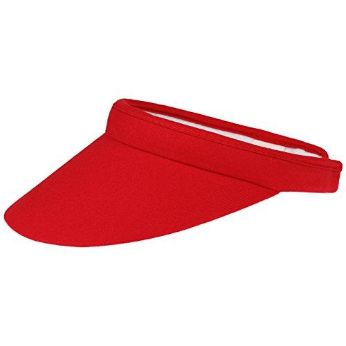 Uni Damen Visor Sonnenvisor Damenvisor Sonnenschutz Sonnenblende Baumwollvisor für Damen Sonnenvisor Damenvisor mit Schirm Frühjahr Sommer (One Size - rot)