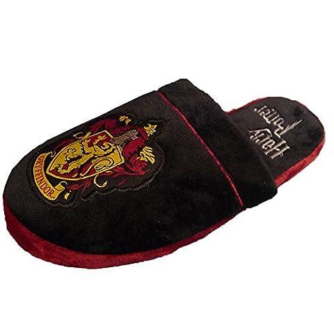 Pantoufles espadrilles peluche Harry Potter Gryffondor noir rouge -