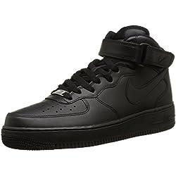 Nike Scarpa Air Force 1 Mid 315123-001 - Zapatillas deportivas de cuero para hombre, Negro, EU 44 (9 UK)