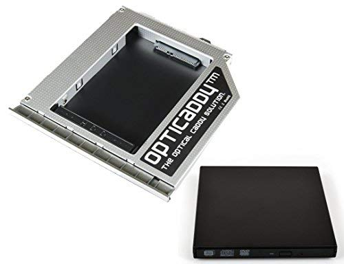 Opticaddy sata-3 HDD/SSD Caddy adattatore set + USB custodia esterna per unità ottica per HP ELITEBOOK 8460P, 8470P, HP 8460 W, 8470 W con tecnologia 'Optispeed