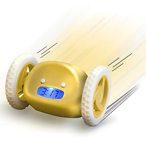 KawKaw Runaway Wecker Digital auf Rädern (Nie Wieder verschlafen mit dem Wecker, der aufspringt, wegläuft und laut Alarm schlägt, wenn Sie Nicht aufstehen) | Für Erwachsene und Kinder (Gelb)