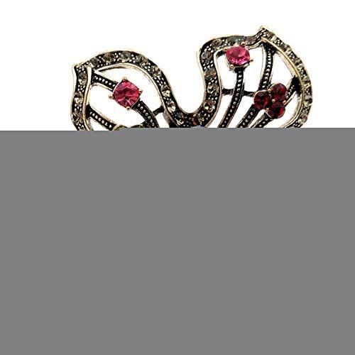 XKA Brosche Metallische Farbige Kristall Große Blume Sari Pin Silber Ton Öffnet Vier Blütenblatt Bunte Anweisung Blumenschmuck
