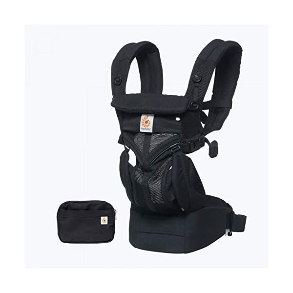 Ergobaby Baby Carrier for Newborn to Toddler, Ergonomic 4-Position Omni 360 Mesh Onyx, Baby Carrier Front Back Front Facing, Backpack Ergobaby Baby carrier with 4 ergonomic wearing positions: parent facing, on the back, on the hip and on the front facing outwards. four ergonomic carry positions and easy to use. Adapts to baby's growth: infant baby carrier new-born to toddler (7-33 lbs./ 3.2 to 20 kg), no infant insert needed Breathable 3d air mesh material ensures the optimal temperature of the baby. includes removable belt pouch. 3