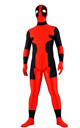 Deadpool Ganzkoeper Lycra Spandex Zentai-Anzug-Strampler Halloween Cosplay Kostuem Rot
