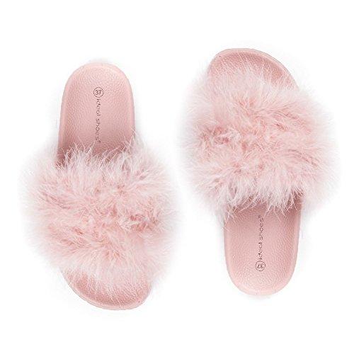 Ideal Shoes Claquettes à Plumes Fany Rose