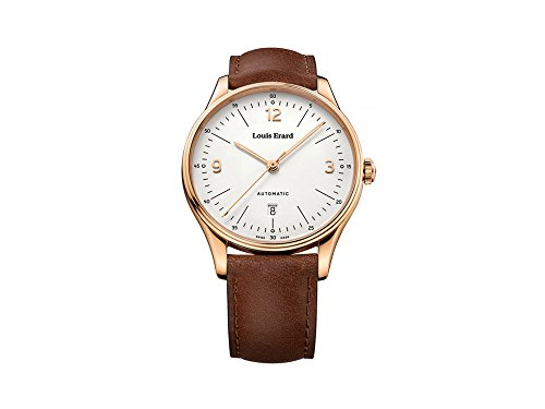 Louis Erard Héritage Automatic Watch, PVD Rose Gold, Silver, Day, Leather Strap