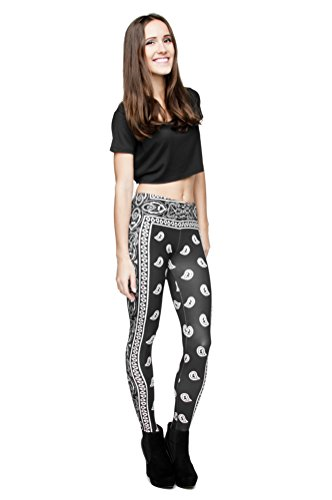 Long Femmes Filles Leggings Jegging imprimé Fitness Pantalon Skinny stretch Galaxy Pantalon de sport d'entraînement - Bandana (black)