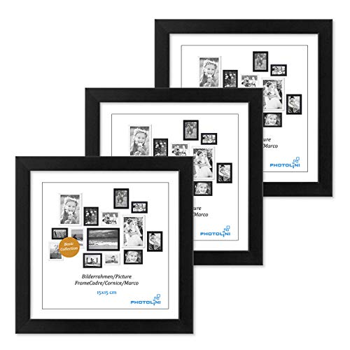 Photolini 3er Set Bilderrahmen 15x15 cm Modern Schwarz aus MDF mit Acrylglas/Portraitrahmen/Wechselrahmen