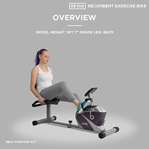 JLL RE100 Recumbent Home Exercise Bike  5kg Two-Way Flywheel 8 Levels  Magnetic Resistance  6 - Levels Seat Adjustments, Monitor Displays Speed,