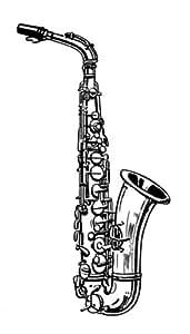 58 mm Badges Saxophone avec porte-clés Motif dessin au trait