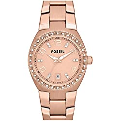 Fossil AM4508 - Reloj para mujeres, correa de acero inoxidable color oro rosa