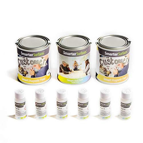 Pittura effetto Lavagna Magnetica Trasparente - Vernice lavagna magnetica per muro, vetro, mobili, panelli - Lavagna Magnetica Colorata - Superficie scrivibile e magnetica del colore a tua scelta - Fai da te - 2m² - Trasparente