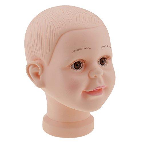 Gazechimp Kinder Mannequin Baby Puppe Kopf Schaufensterpuppe - Mütze Brille Perückenkopf