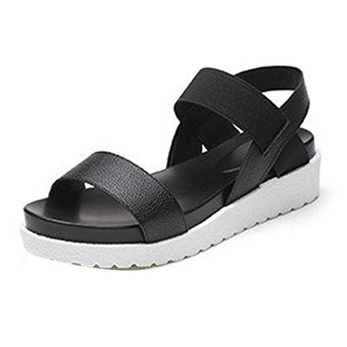 VJGOAL Damen Sandalen, Damen Mädchen Mode Sommer Schuhe Peep-Toe Low Schuhe Roman Flip Flops Frau Valentinstag Geschenk (38 EU, Schwarz)