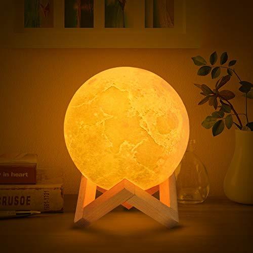 Carmel 3D-Licht Mondlicht Mondlicht Nachtlicht Aufladen Schlafzimmer Nachttisch Tischlampe,20cm (Carmel 20)