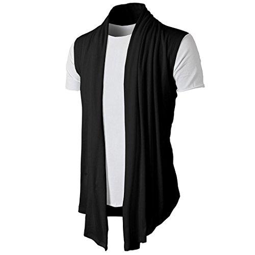 Venmo Ärmellose Herren Cardigan T-Shirt beiläufige Dünne Passende Kleiderhemden Formale Oberseiten Strickjacke Open Jacke Knit Mantel Strick Jacke Hoodie Hoody Sweatshirt Sweatblazer (Black, L)