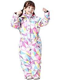 QunWang Muchachas De Los Niños Siameses Ski Suit Invierno Caliente del Viento Y Chaqueta Impermeable Al Aire Libre Abrigo De Cachemira a-100