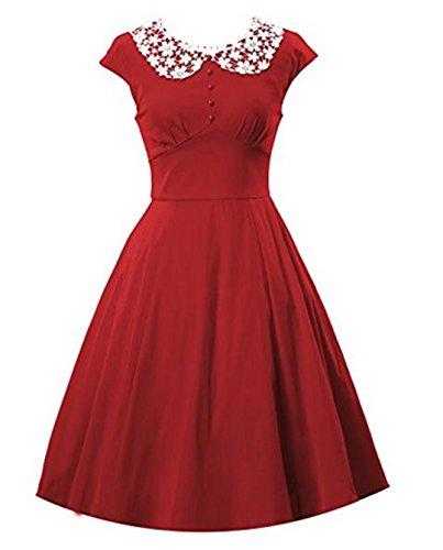 YOGLY Damen Kleide Modisch Knielang Lace kragen Kurzarm VintageKleid ...